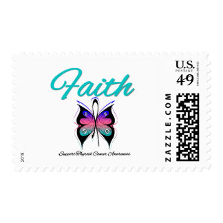 Thyroid Cancer Faith Butterfly Ribbon Postage Stamp
