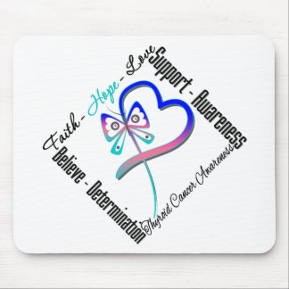 Thyroid Cancer Faith Hope Love Butterfly Mouse Pad