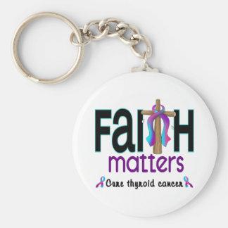 Thyroid Cancer Faith Matters Cross 1 Basic Round Button Keychain