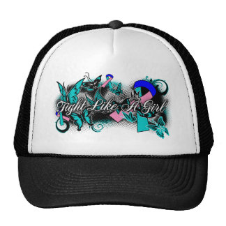 Thyroid Cancer Fight Like A Girl Grunge Butterfly Mesh Hats