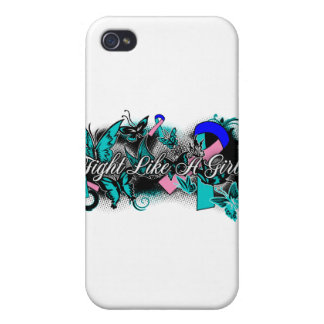 Thyroid Cancer Fight Like A Girl Grunge Butterfly Cover For iPhone 4