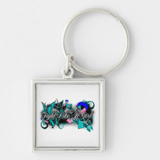 Thyroid Cancer Fight Like A Girl Grunge Butterfly Keychains