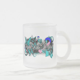 Thyroid Cancer Fight Like A Girl Grunge Butterfly Coffee Mugs