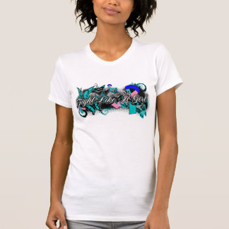 Thyroid Cancer Fight Like A Girl Grunge Butterfly Tee Shirt