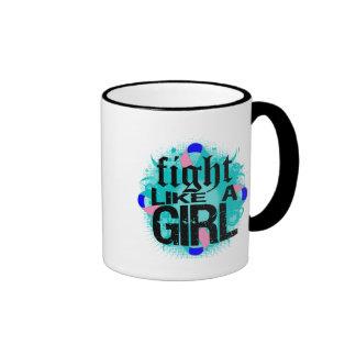 Thyroid Cancer Fight Like A Girl Rock Ed. Ringer Coffee Mug