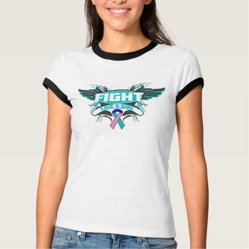 Thyroid Cancer Fight Like a Girl Wings.png Tshirts