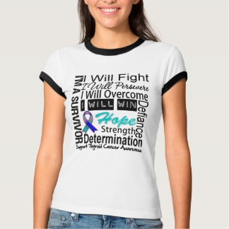 Thyroid Cancer Fight Persevere Overcome Win T-Shirt