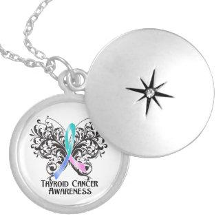 Thyroid Cancer Flourish Butterfly Ribbon Round Locket Necklace