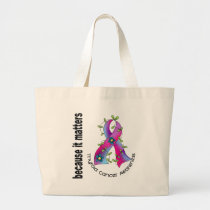 Thyroid Cancer Flower Ribbon 3 Large Tote Bag