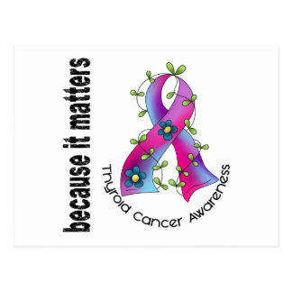 Thyroid Cancer Flower Ribbon 3 Postcard