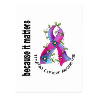 Thyroid Cancer Flower Ribbon 3 Postcard