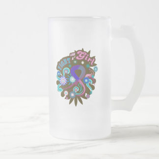 Thyroid Cancer Groovy Fight Like A Girl 16 Oz Frosted Glass Beer Mug