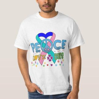 Thyroid Cancer Groovy Peace Love Cure T-Shirt