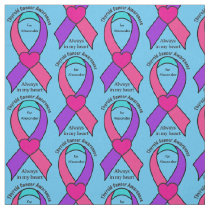 Thyroid Cancer Heart Customizable Awareness Ribbon Fabric