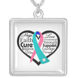 Thyroid Cancer Heart Ribbon Collage Square Pendant Necklace