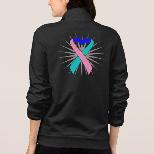 Thyroid Cancer Heart Ribbon Printed Jacket
