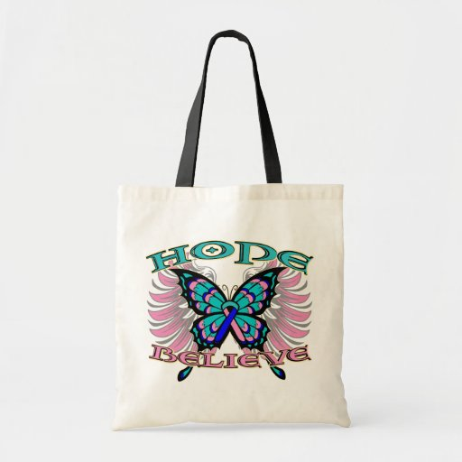 Thyroid Cancer Hope Believe Butterfly Canvas Bags