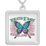Thyroid Cancer Hope Believe Butterfly Square Pendant Necklace