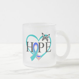 Thyroid Cancer Hope Butterfly Heart Décor 10 Oz Frosted Glass Coffee Mug