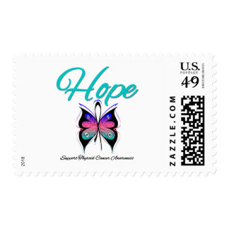 Thyroid Cancer Hope Butterfly Ribbon Postage Stamps