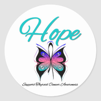 Thyroid Cancer Hope Butterfly Ribbon Stickers