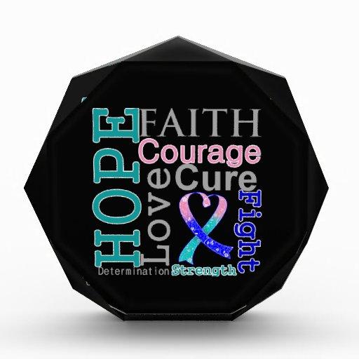Thyroid Cancer Hope Faith Motto Acrylic Award
