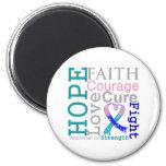 Thyroid Cancer Hope Faith Motto Fridge Magnets