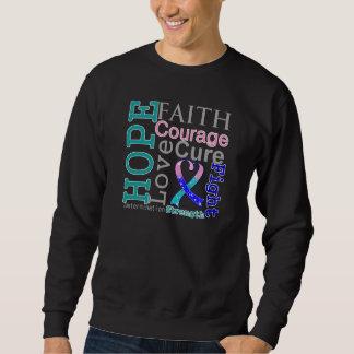 Thyroid Cancer Hope Faith Motto Pullover Sweatshirt