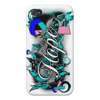 Thyroid Cancer Hope Garden Ribbon Covers For iPhone 4