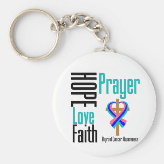 Thyroid Cancer Hope Love Faith Prayer Cross Basic Round Button Keychain