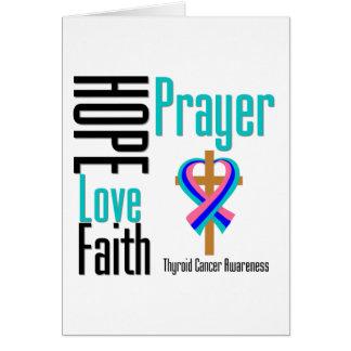 Thyroid Cancer Hope Love Faith Prayer Cross Card