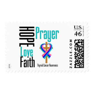 Thyroid Cancer Hope Love Faith Prayer Cross Postage Stamps