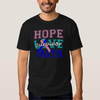 Thyroid Cancer Hope Love Faith Survivor Tee Shirt