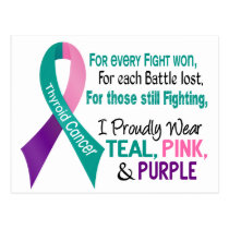 Thyroid Cancer I Proudly Wear Teal Purple Pink 1 Postcard