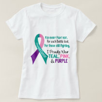 Thyroid Cancer I Proudly Wear Teal Purple Pink 1 T-Shirt