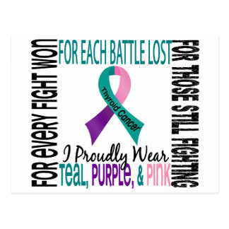 Thyroid Cancer I Proudly Wear Teal, Purple, Pink 2 Postcard
