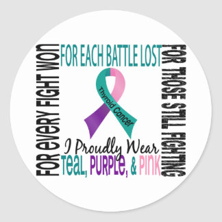 Thyroid Cancer I Proudly Wear Teal, Purple, Pink 2 Stickers
