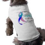 Thyroid Cancer I Wear a Ribbon For My Hero Doggie Tee Shirt