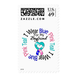 Thyroid Cancer I Wear Heart Ribbon For Boyfriend Postage Stamps