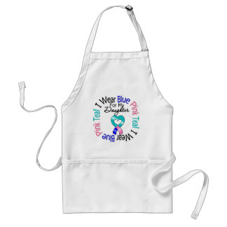 Thyroid Cancer I Wear Heart Ribbon For My Daughter Adult Apron