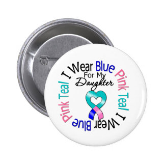 Thyroid Cancer I Wear Heart Ribbon For My Daughter Pinback Button