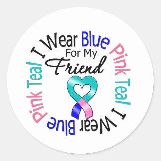 Thyroid Cancer I Wear Heart Ribbon For My Friend Classic Round Sticker