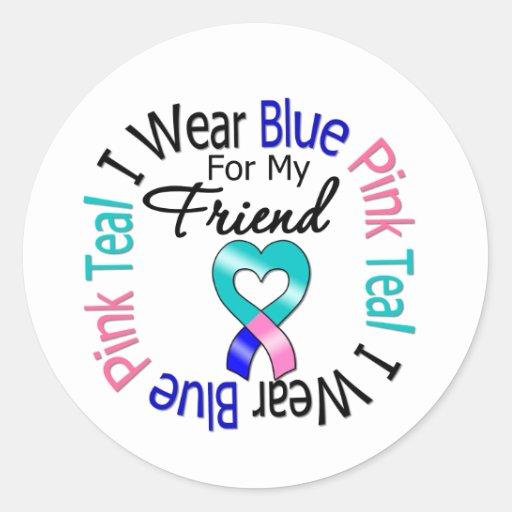 Thyroid Cancer I Wear Heart Ribbon For My Friend Stickers