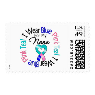 Thyroid Cancer I Wear Heart Ribbon For My Nana Postage Stamp