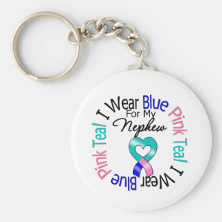 Thyroid Cancer I Wear Heart Ribbon For My Nephew Keychain
