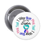 Thyroid Cancer I Wear Heart Ribbon For My Sister Button