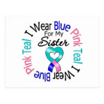 Thyroid Cancer I Wear Heart Ribbon For My Sister Postcard