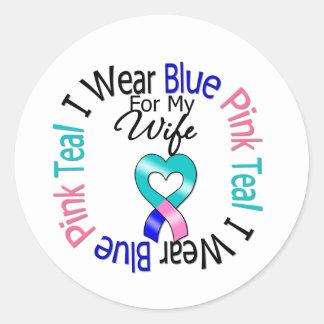 Thyroid Cancer I Wear Heart Ribbon For My Wife Round Sticker