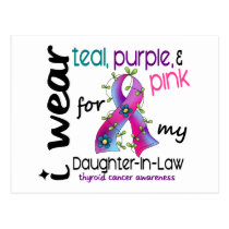 Thyroid Cancer I Wear Ribbon For Daughter-In-Law Postcard