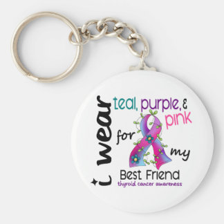 Thyroid Cancer I Wear Ribbon For My Best Friend 43 Keychain